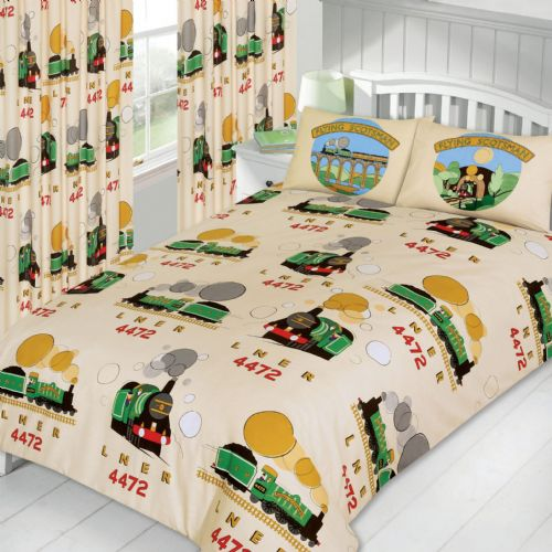 KIDS BOYS TRAINS TOY DESIGN CHILDRENS BEDDING DUVET QUILT COVER SET OR CURTAINS
